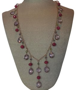 Other Ruby/emerald/tanzanite/peridot/amethyst rose gold fill long drop necklace