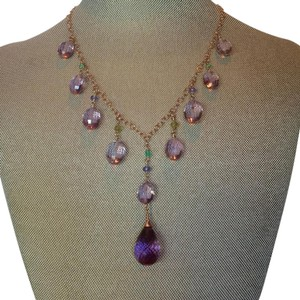 Other Emerald/tanzanite/amethyst & peridot rose gold fill necklace