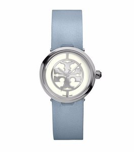 Tory Burch Tory Burch Reva Silver Tone Logo Dial Blue Leather 28mm Watch TRB4006