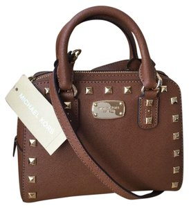 Michael Kors Leather Studded Satchel in Luggage