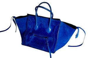 Céline Phantom Suede Satchel in Royal Blue