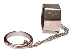 Salvatore Ferragamo Silver Bolt Double Finger Chain Ring