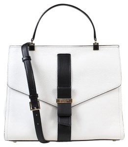 Kate Spade Rosaline Parchment Leather Black Satchel in White