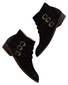 Anthropologie Suede Buckle Black Boots
