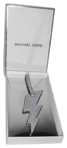 Michael Kors New Monogram Silver Lightning Saffiano Leather Purse Charm/Luggage Tag
