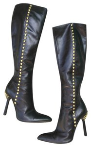 Versace Knee High Stiletto black w/ gold studs Boots