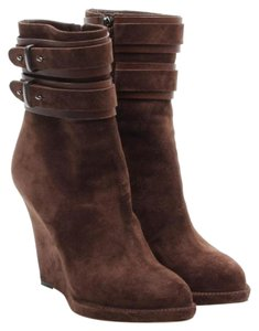Givenchy Wedge Bootie Suede Dark Brown Boots