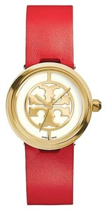 Tory Burch Authentic TORY BURCH REVA GOLD TONE RED LEATHER STRAP WATCH