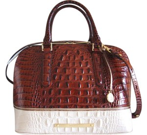 Brahmin Croc & Lizard Embossed Leather Medium/large Size Pecan/brown/ivory Satchel in Pecan Tri-Texture