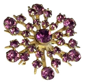 Delizza & elster Purple Crystal Antique Brooch Pin Flower