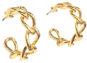 Napier Napier Chain Hoop Gold Earrings