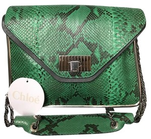 Chloé Sally Sally Flap Sally Satchel in Green python Chloe