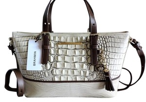 Brahmin Croc Emboss Leather Tote in Multi Fossil