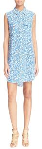 Equipment short dress Blue Animal Print on Tradesy