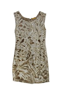 Alice + Olivia short dress Tan Printed Sequin Silk Sleeveless on Tradesy