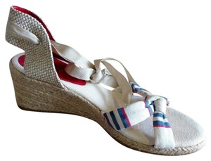 Michelle D Cream, blue, red Wedges