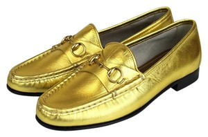 Gucci 1953 Leather Hoesebit Loafer Gold 8016 Flats