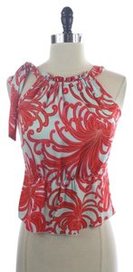 Trina Turk Silk Blend Sleeveless Shirt Top BLUE AND RED