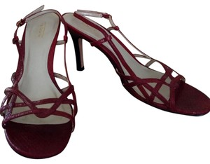 Talbots Reptile Snake Slingback Strappy Red Sandals