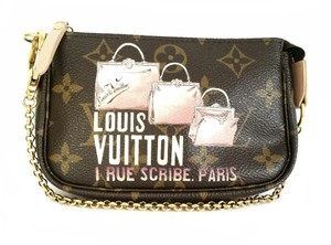 Louis Vuitton 1 Rue Scribe Paris Minitial Pochette Limited Edition Monogram Trave Collection Wristlet in Brown and pink