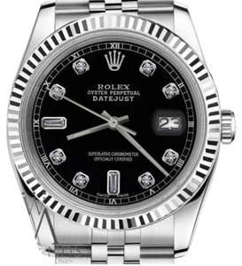 Rolex Women's Rolex 31mm Datejust Black Color Dial with Diamond Accent Watch