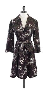 Diane von Furstenberg Brown Green Trench Trench Coat