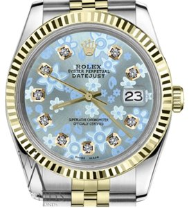 Rolex Women`s 26mm Datejust2Tone Glossy Ice Blue Flower Dial Diamond Accent