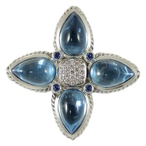 David Yurman David Yurman Sterling Silver Blue Topaz Sapphire Diamond Enhancer