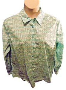 Jones New York Plus Size Casual Cotton Longsleeve Button Down Shirt Green
