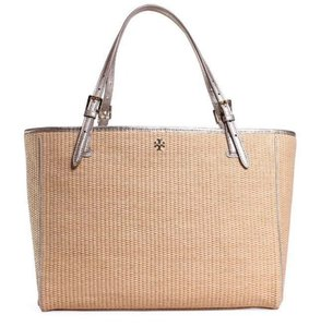 Tory Burch Straw Buckle Tote in Natural