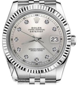 Rolex Men's Rolex 36mm Datejust Silver Color Dial with Diamond Accent Watch