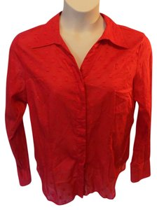 Coldwater Creek Plus Size Button Down Button Down Shirt Red