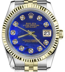 Rolex Women`s 26mm Datejust2Tone Blue Treated MOP Mother Of Pearl Diamond