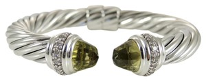 David Yurman David Yurman Sterling Silver 10mm Lemon Citrine Diamond Cable Bracelet