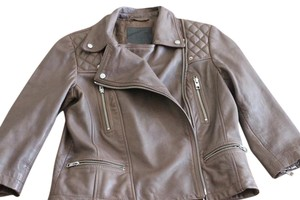 AllSaints Quilted Leather Pale Leather Jacket