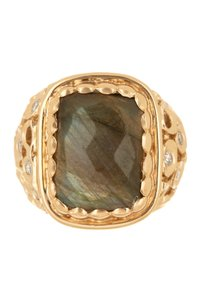 Melinda Maria 14K Gold Plated Wally Labradorite & White CZ Ring