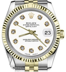 Rolex Women`s Rolex 31mm Datejust2Tone White Color Dial with Diamonds