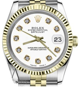 Rolex Men's Rolex 36mm Datejust2Tone White Color Dial with Diamonds
