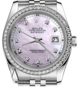 Rolex Men`s 36mm Datejust Pink Mother Of Pearl Dial Diamond Accent Watch