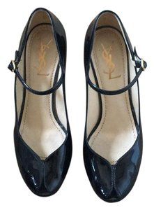 Saint Laurent Pumps Mary Jane Peep Toe Black Platforms