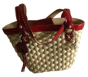 Brighton Tote in Natural And Red