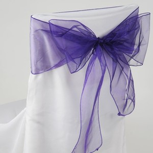 100 Eggplant Purple Organza Chair Sashes