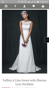 David's Bridal Taffeta A Line Gown With Illusion Lace Neckline Wedding Dress