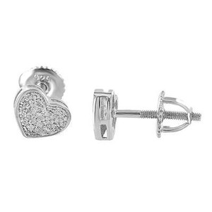 Heart Shape Earrings Genuine Diamonds Screw Back 6mm