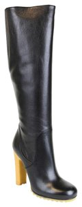 Gucci Leather Stivale Pelle Luxor Knee 323548 Black Boots