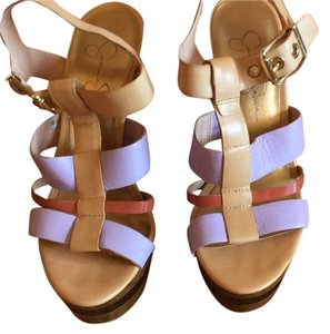 Jessica Simpson Lavender/beige/ tan leather Platforms