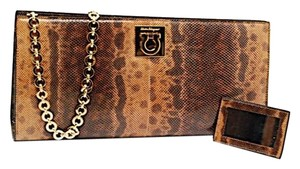 Salvatore Ferragamo Cognac Brown Clutch