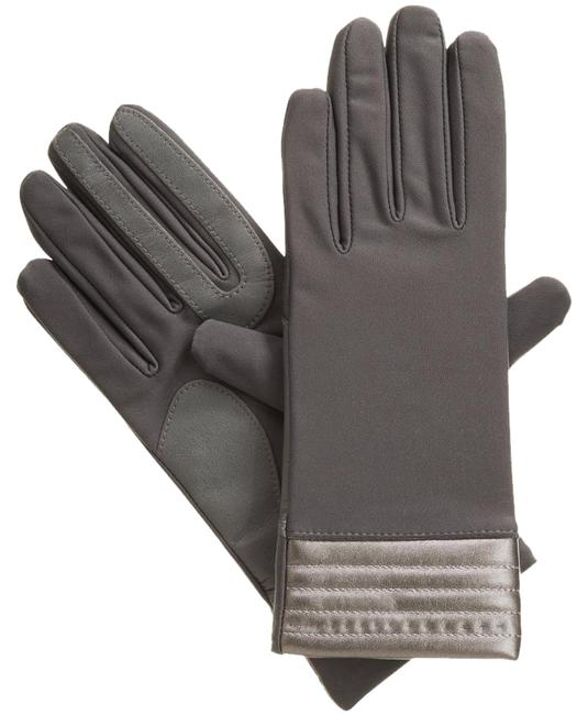 Isotoner Charcoal Gray L Stretch Metallic Hem Smartouch Lined Womens Gloves M Isotoner Charcoal Gray L Stretch Metallic Hem Smartouch Lined Womens Gloves M Image 1