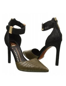 Dolce Vita Leather Snakeskin Heels Green & Black Pumps
