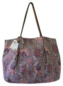 Lucky Brand Leather And Canvas Roomy Lightweight Vintage Pattern New With Tags Tote in Purple, Pink